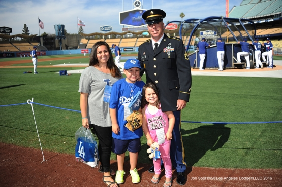 Great Los Angeles Dodger fans, Military Hero of the game, US Army Sergeant, Augie Ortman poses with his family prior to game against the Colorado Rockies Monday, June 6, 2016 at Dodger Stadium in Los Angeles,California. Photo by Jon SooHoo/© Los Angeles Dodgers,LLC 2016