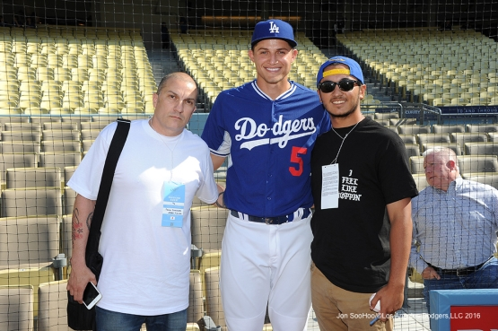 Great Los Angeles Dodger fans pose with Corey Seager prior to game against the Colorado Rockies Monday, June 6, 2016 at Dodger Stadium in Los Angeles,California. Photo by Jon SooHoo/© Los Angeles Dodgers,LLC 2016