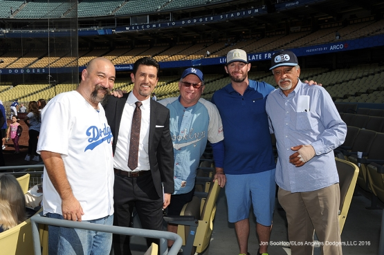 Nomar Garciaparra poses with dad and friends prior to game against the Colorado Rockies Monday, June 6, 2016 at Dodger Stadium in Los Angeles,California. Photo by Jon SooHoo/© Los Angeles Dodgers,LLC 2016