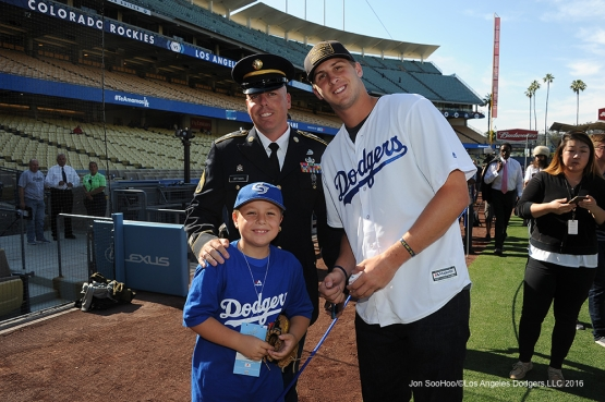 Great Los Angeles Dodger fans, Military Hero of the game, US Army Sergeant, Augie Ortman poses with Los Angeles Rams Quarterback Jared Goff prior to game against the Colorado Rockies Monday, June 6, 2016 at Dodger Stadium in Los Angeles,California. Photo by Jon SooHoo/© Los Angeles Dodgers,LLC 2016