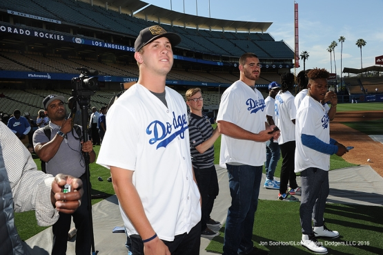 Los Angeles Rams Jared Goff watches batting practice prior to game against the Colorado Rockies Monday, June 6, 2016 at Dodger Stadium in Los Angeles,California. Photo by Jon SooHoo/© Los Angeles Dodgers,LLC 2016