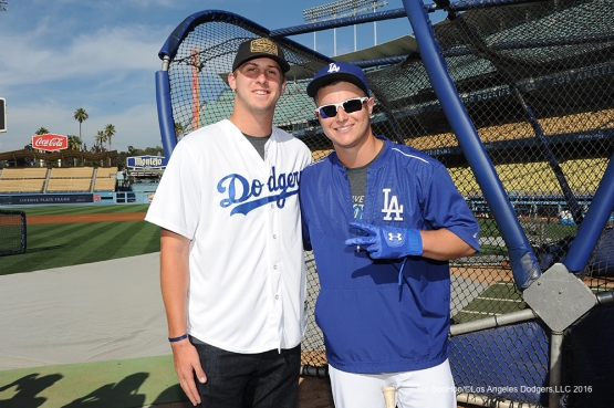 Los Angeles Rams Jared Goff poses with Joc Pederson prior to game against the Colorado Rockies Monday, June 6, 2016 at Dodger Stadium in Los Angeles,California. Photo by Jon SooHoo/© Los Angeles Dodgers,LLC 2016