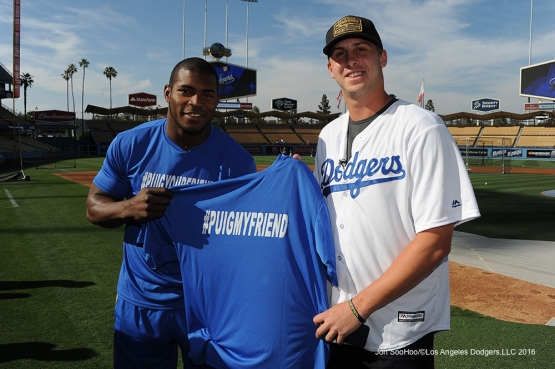 Los Angeles Rams Jared Goff and Yasiel Puig pose prior to game against the Colorado Rockies Monday, June 6, 2016 at Dodger Stadium in Los Angeles,California. Photo by Jon SooHoo/© Los Angeles Dodgers,LLC 2016
