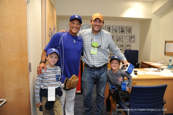 Dave Roberts poses with guests prior to game against the Colorado Rockies Monday, June 6, 2016 at Dodger Stadium in Los Angeles,California. Photo by Jon SooHoo/© Los Angeles Dodgers,LLC 2016