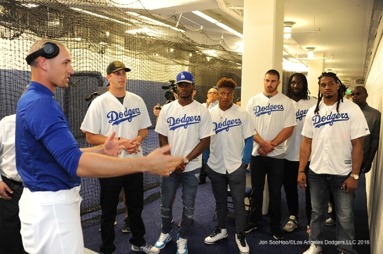 Los Angeles Rams visit the Trayce Thompson prior to game against the Colorado Rockies Monday, June 6, 2016 at Dodger Stadium in Los Angeles,California. Photo by Jon SooHoo/© Los Angeles Dodgers,LLC 2016