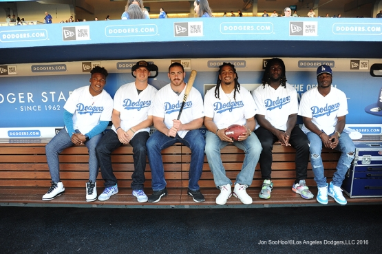 Los Angeles Rams in the dugout prior to game against the Colorado Rockies Monday, June 6, 2016 at Dodger Stadium in Los Angeles,California. Photo by Jon SooHoo/© Los Angeles Dodgers,LLC 2016