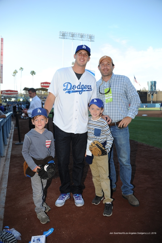 Jared Goff poses with great Los Angeles Dodgers fans prior to game against the Colorado Rockies Monday, June 6, 2016 at Dodger Stadium in Los Angeles,California. Photo by Jon SooHoo/© Los Angeles Dodgers,LLC 2016