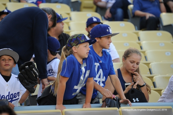 Great Los Angeles Dodger fans prior to game against the Colorado Rockies Monday, June 6, 2016 at Dodger Stadium in Los Angeles,California. Photo by Jon SooHoo/© Los Angeles Dodgers,LLC 2016