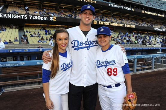 Jared Goff poses with Dodger bat girls prior to game against the Colorado Rockies Monday, June 6, 2016 at Dodger Stadium in Los Angeles,California. Photo by Jon SooHoo/© Los Angeles Dodgers,LLC 2016
