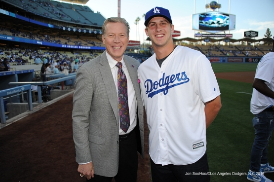 Los Angeles Jared Goff poses with Orel Hershiser prior to game against the Colorado Rockies Monday, June 6, 2016 at Dodger Stadium in Los Angeles,California. Photo by Jon SooHoo/© Los Angeles Dodgers,LLC 2016