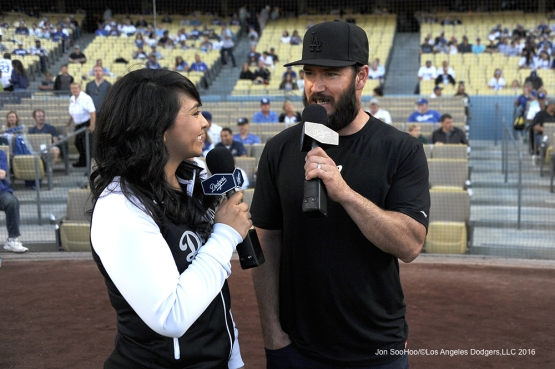 Mark-Paul Vosselaar is interviewed before game against the Colorado Rockies Monday, June 6, 2016 at Dodger Stadium in Los Angeles,California. Photo by Jon SooHoo/© Los Angeles Dodgers,LLC 2016