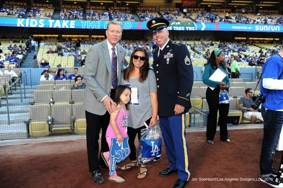 Great Los Angeles Dodger fans, Military Hero of the game, US Army Sergeant, Augie Ortman poses with Orel Hershiser prior to game against the Colorado Rockies Monday, June 6, 2016 at Dodger Stadium in Los Angeles,California. Photo by Jon SooHoo/© Los Angeles Dodgers,LLC 2016