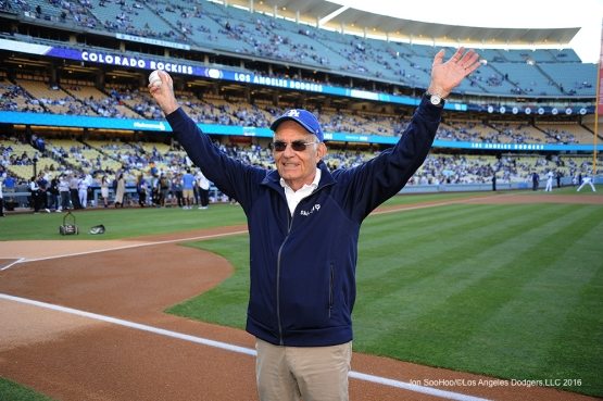 Skirball Culteral Center' Founder, President and CEO, Uri Herscher waves to the crowd prior to game against the Colorado Rockies Monday, June 6, 2016 at Dodger Stadium in Los Angeles,California. Photo by Jon SooHoo/© Los Angeles Dodgers,LLC 2016