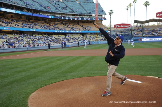 Skirball Culteral Center' Founder, President and CEO, Uri Herscher throws out the first pitch before game against the Colorado Rockies Monday, June 6, 2016 at Dodger Stadium in Los Angeles,California. Photo by Jon SooHoo/© Los Angeles Dodgers,LLC 2016