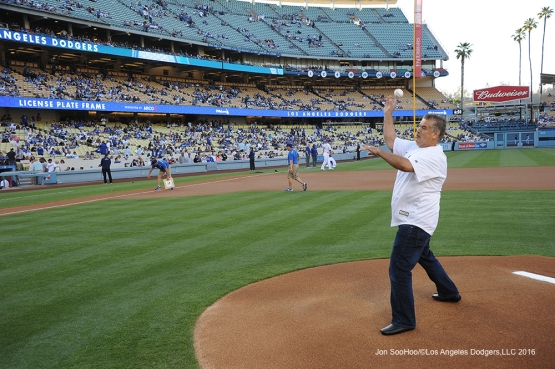 ARCO Franchisee and Station Owner/Operator, Martin Vallejo throws out the first pitch prior to game against the Colorado Rockies Monday, June 6, 2016 at Dodger Stadium in Los Angeles,California. Photo by Jon SooHoo/© Los Angeles Dodgers,LLC 2016