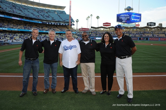 ARCO Representatives pose prior to game against the Colorado Rockies Monday, June 6, 2016 at Dodger Stadium in Los Angeles,California. Photo by Jon SooHoo/© Los Angeles Dodgers,LLC 2016