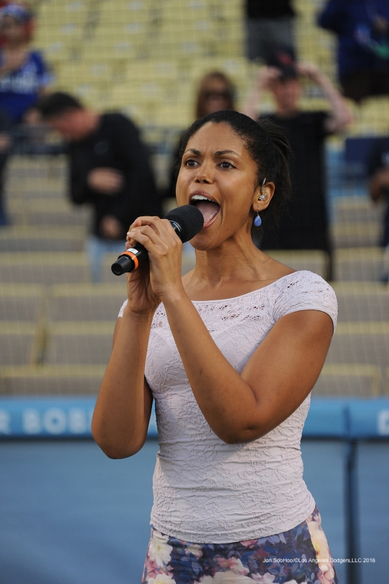 Actress Karla Mosley sings the anthem prior to game against the Colorado Rockies Monday, June 6, 2016 at Dodger Stadium in Los Angeles,California. Photo by Jon SooHoo/© Los Angeles Dodgers,LLC 2016