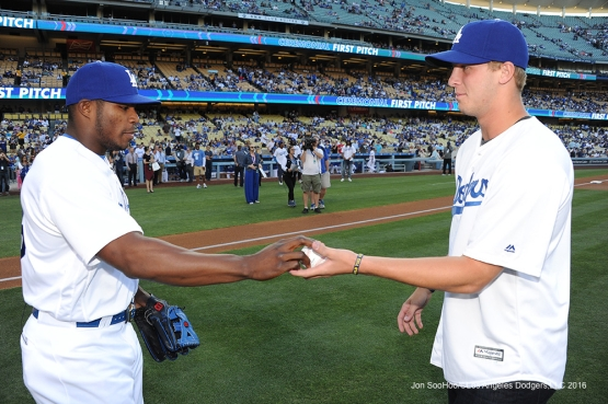 Rams Quarterback Jared Goff throws out the first pitch to Yasiel Puig prior to game against the Colorado Rockies Monday, June 6, 2016 at Dodger Stadium in Los Angeles,California. Photo by Jon SooHoo/© Los Angeles Dodgers,LLC 2016