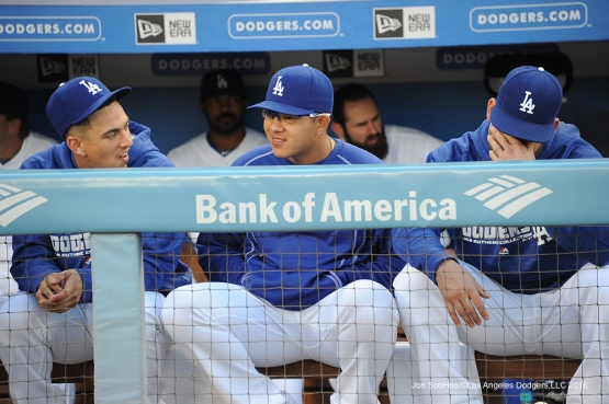 Los Angeles Dodgers Austin Barnes, Julio Urias and Yasmani Grandal prior to game against the Colorado Rockies Monday, June 6, 2016 at Dodger Stadium in Los Angeles,California. Photo by Jon SooHoo/© Los Angeles Dodgers,LLC 2016