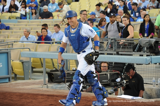 Los Angeles Dodgers A.J. Ellis takes the field for game against the Colorado Rockies Monday, June 6, 2016 at Dodger Stadium in Los Angeles,California. Photo by Jon SooHoo/© Los Angeles Dodgers,LLC 2016