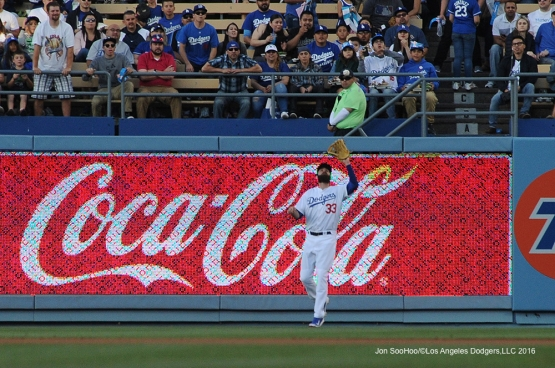 Los Angeles Dodgers Scott Van Slyke catches ball against the Colorado Rockies Monday, June 6, 2016 at Dodger Stadium in Los Angeles,California. Photo by Jon SooHoo/© Los Angeles Dodgers,LLC 2016