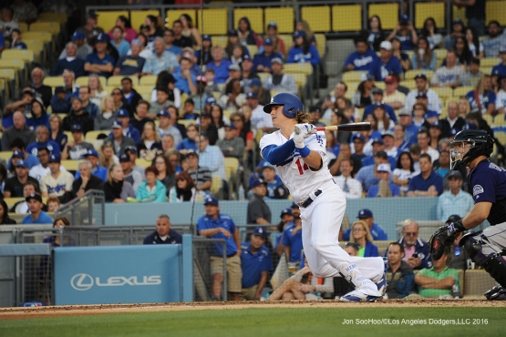 Los Angeles Dodgers Kike Hernandez hits during game against the Colorado Rockies Monday, June 6, 2016 at Dodger Stadium in Los Angeles,California. Photo by Jon SooHoo/© Los Angeles Dodgers,LLC 2016