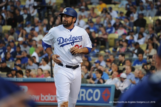 Los Angeles Dodgers  Adrian Gonzalez scores against the Colorado Rockies Monday, June 6, 2016 at Dodger Stadium in Los Angeles,California. Photo by Jon SooHoo/© Los Angeles Dodgers,LLC 2016