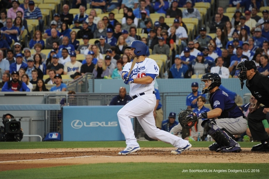 Los Angeles Dodgers Mike Bolsinger breaks his bat against the Colorado Rockies Monday, June 6, 2016 at Dodger Stadium in Los Angeles,California. Photo by Jon SooHoo/© Los Angeles Dodgers,LLC 2016