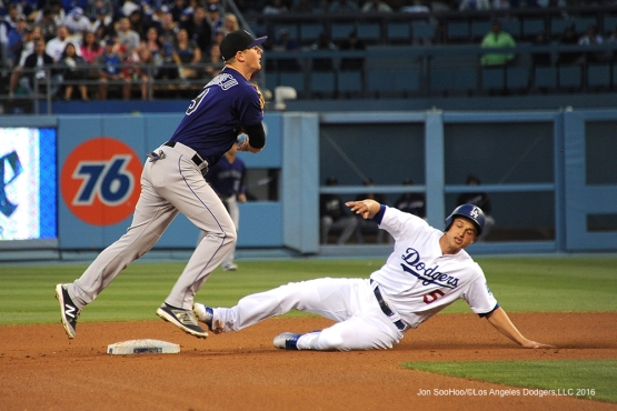 Los Angeles Dodgers Corey Seager slides into second against the Colorado Rockies Monday, June 6, 2016 at Dodger Stadium in Los Angeles,California. Photo by Jon SooHoo/© Los Angeles Dodgers,LLC 2016