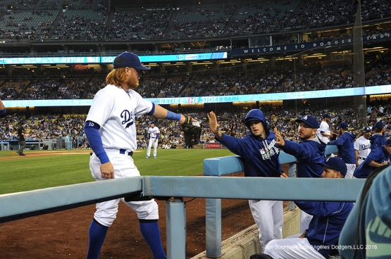 Los Angeles Dodgers Justin Turner enters the dugout against the Colorado Rockies Monday, June 6, 2016 at Dodger Stadium in Los Angeles,California. Photo by Jon SooHoo/© Los Angeles Dodgers,LLC 2016