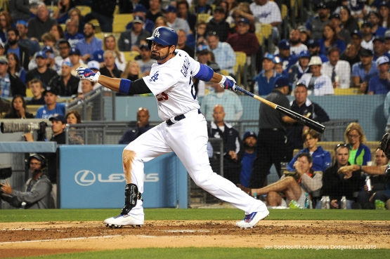 Los Angeles Dodgers Adrian Gonzalez hits against the Colorado Rockies Monday, June 6, 2016 at Dodger Stadium in Los Angeles,California. Photo by Jon SooHoo/© Los Angeles Dodgers,LLC 2016