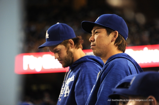 Los Angeles Dodgers Kenta Maeda and Clayton Kershaw watch the game against the Colorado Rockies Monday, June 6, 2016 at Dodger Stadium in Los Angeles,California. Photo by Jon SooHoo/© Los Angeles Dodgers,LLC 2016
