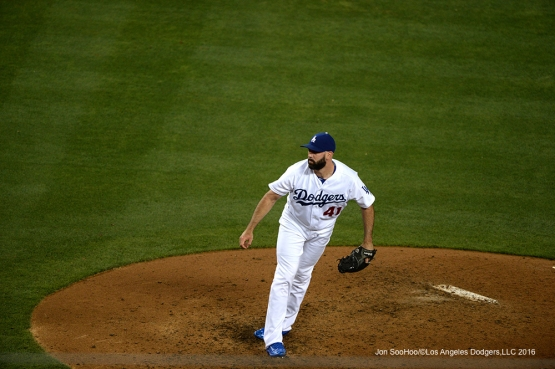 Los Angeles Dodgers  Chris Hatcher pitches against the Colorado Rockies Monday, June 6, 2016 at Dodger Stadium in Los Angeles,California. Photo by Jon SooHoo/© Los Angeles Dodgers,LLC 2016