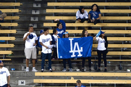 Great Los Angeles Dodger fans during game against the Colorado Rockies Monday, June 6, 2016 at Dodger Stadium in Los Angeles,California. Photo by Jon SooHoo/© Los Angeles Dodgers,LLC 2016