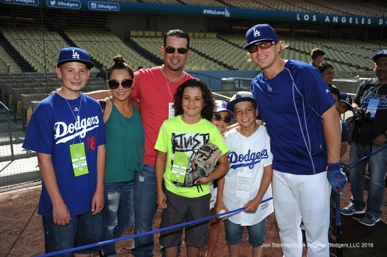Great Los Angeles Dodger fans pose with Kike Hernandez prior to game against the Colorado Rockies Wednesday, June 8, 2016 at Dodger Stadium in Los Angeles,California. Photo by Jon SooHoo/© Los Angeles Dodgers,LLC 2016