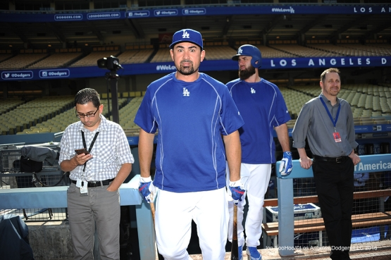 Los Angeles Dodgers Adrian Gonzalez is ready for batting practice prior to game against the Colorado Rockies Wednesday, June 8, 2016 at Dodger Stadium in Los Angeles,California. Photo by Jon SooHoo/© Los Angeles Dodgers,LLC 2016