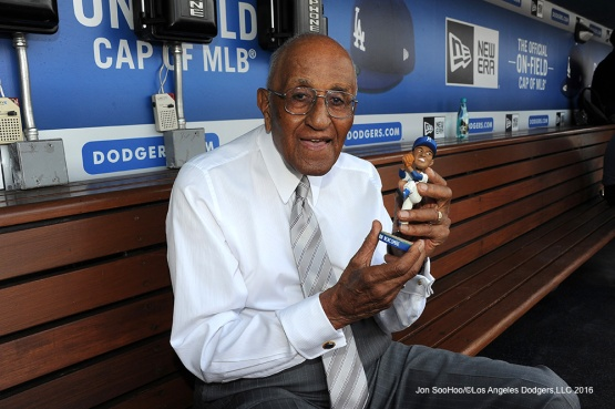 Los Angeles Dodgers celebrate Don Newcombe's 90th birthday with a bobblehead in his name prior to game against the Colorado Rockies Wednesday, June 8, 2016 at Dodger Stadium in Los Angeles,California. Photo by Jon SooHoo/© Los Angeles Dodgers,LLC 2016