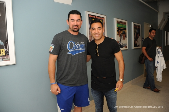 Los Angeles Dodgers Adrian Gonzalez poses with Mexican soccer star Marco Fabian prior to game against the Colorado Rockies Wednesday, June 8, 2016 at Dodger Stadium in Los Angeles,California. Photo by Jon SooHoo/© Los Angeles Dodgers,LLC 2016