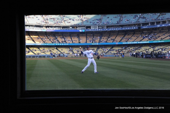 Kenta Maeda through the bullpen window prior to game against the Colorado Rockies Wednesday, June 8, 2016 at Dodger Stadium in Los Angeles,California. Photo by Jon SooHoo/© Los Angeles Dodgers,LLC 2016