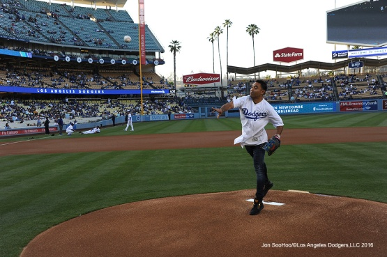 Soccer legend Marco Fabian throws out the first pitch prior to Los Angeles Dodgers game against the Colorado Rockies Wednesday, June 8, 2016 at Dodger Stadium in Los Angeles,California. Photo by Jon SooHoo/© Los Angeles Dodgers,LLC 2016