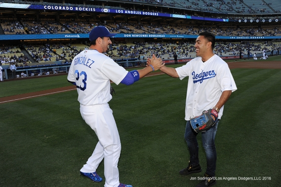 Soccer legend Marco Fabian shakes hands with Adrian Gonzalez prior to Los Angeles Dodgers game against the Colorado Rockies Wednesday, June 8, 2016 at Dodger Stadium in Los Angeles,California. Photo by Jon SooHoo/© Los Angeles Dodgers,LLC 2016