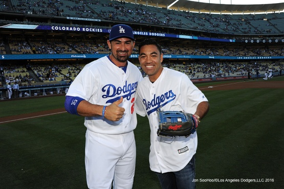 Soccer legend Marco Fabian poses with Adrian Gonzalez prior to Los Angeles Dodgers game against the Colorado Rockies Wednesday, June 8, 2016 at Dodger Stadium in Los Angeles,California. Photo by Jon SooHoo/© Los Angeles Dodgers,LLC 2016