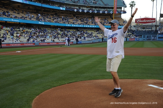 United Healthcare CEO Rob Falkenberg throws out the ceremonial first pitch prior to Los Angeles Dodgers game against the Colorado Rockies Wednesday, June 8, 2016 at Dodger Stadium in Los Angeles,California. Photo by Jon SooHoo/© Los Angeles Dodgers,LLC 2016