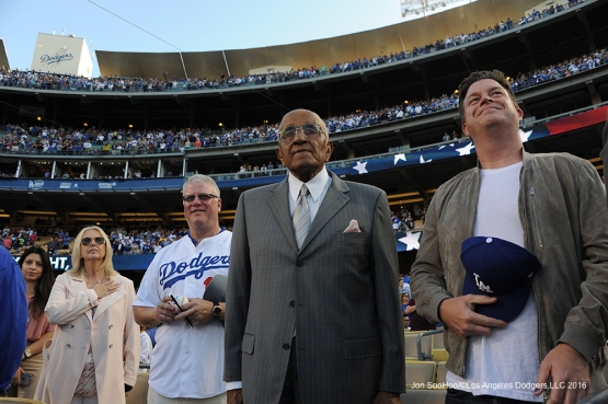 Los Angeles Dodgers Don Newcombe, on his 90th birthday, stands for the national anthem prior to game against the Colorado Rockies Wednesday, June 8, 2016 at Dodger Stadium in Los Angeles,California. Photo by Jon SooHoo/© Los Angeles Dodgers,LLC 2016
