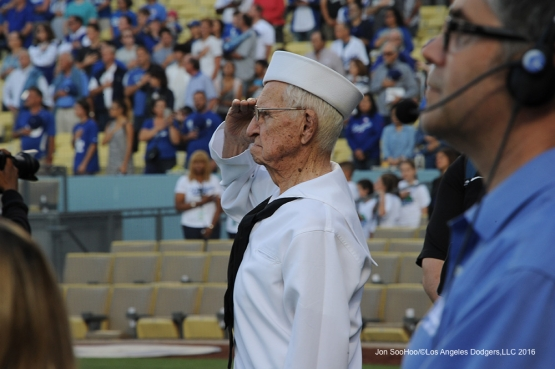 Los Angeles Dodgers Military Hero of the Game US Navy Radioman, Second Class, Bernard Baima stands for the national anthem prior to game against the Colorado Rockies Wednesday, June 8, 2016 at Dodger Stadium in Los Angeles,California. Photo by Jon SooHoo/© Los Angeles Dodgers,LLC 2016