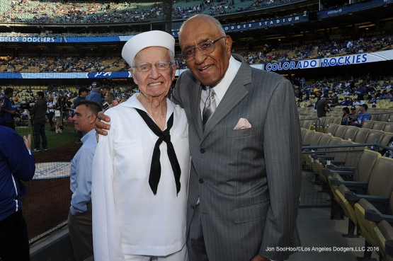 Los Angeles Dodgers Military Hero of the Game US Navy Radioman, Second Class, Bernard Baima poses with Don Newcombe prior to game against the Colorado Rockies Wednesday, June 8, 2016 at Dodger Stadium in Los Angeles,California. Photo by Jon SooHoo/© Los Angeles Dodgers,LLC 2016