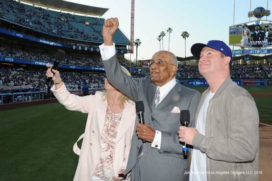 Los Angeles Dodgers celebrate Don Newcombe's 90th birthday prior to game against the Colorado Rockies Wednesday, June 8, 2016 at Dodger Stadium in Los Angeles,California. Photo by Jon SooHoo/© Los Angeles Dodgers,LLC 2016