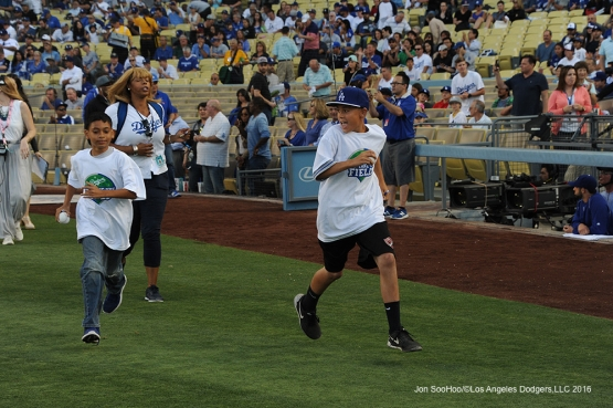 Los Angeles Dodgers Kids take the field prior to game against the Colorado Rockies Wednesday, June 8, 2016 at Dodger Stadium in Los Angeles,California. Photo by Jon SooHoo/© Los Angeles Dodgers,LLC 2016