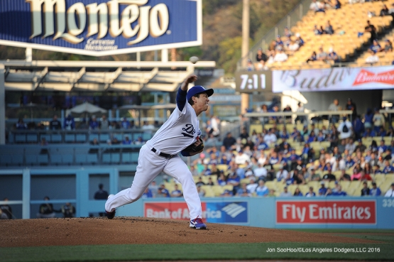 Los Angeles Dodgers Kenta Maeda pitches against the Colorado Rockies Wednesday, June 8, 2016 at Dodger Stadium in Los Angeles,California. Photo by Jon SooHoo/© Los Angeles Dodgers,LLC 2016