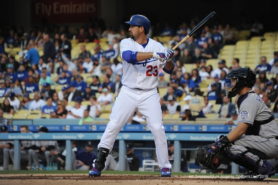 Los Angeles Dodgers Adrian Gonzalez during game against the Colorado Rockies Wednesday, June 8, 2016 at Dodger Stadium in Los Angeles,California. Photo by Jon SooHoo/© Los Angeles Dodgers,LLC 2016